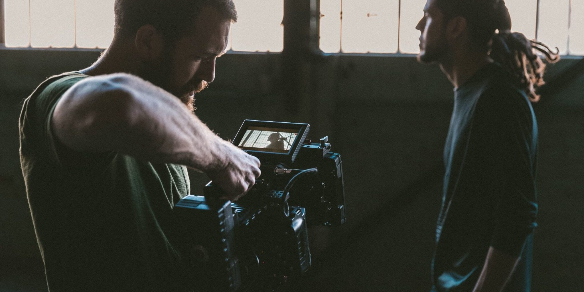 film crew filming in warehouse - independent film